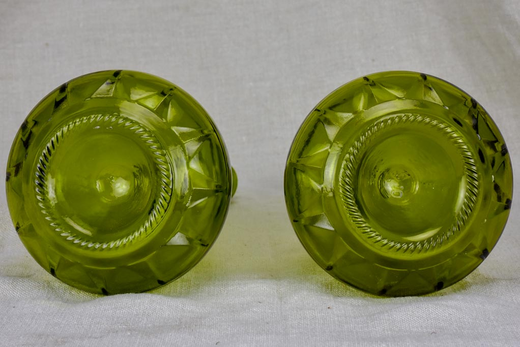 Pair of Italian carafes - green glass with stoppers