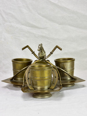 Mid - late 19th Century French horse themed bottle / condiment holder centerpiece