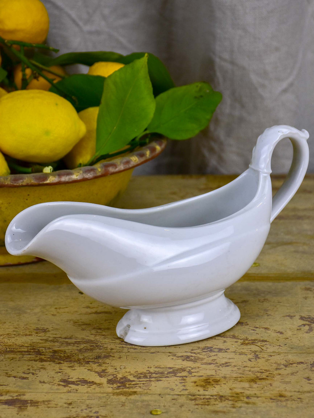 Antique French stoneware gravy boat - white