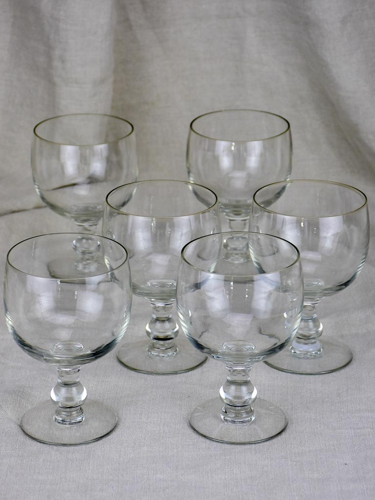 Six very large antique French glasses