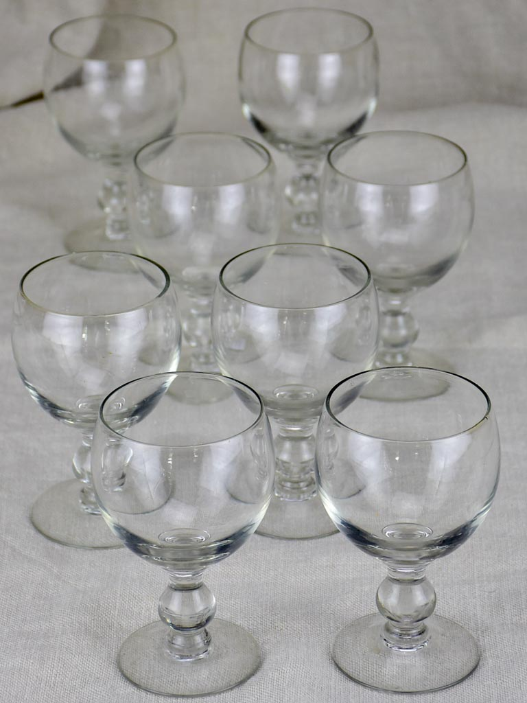 Eight early 20th Century crystal wine glasses