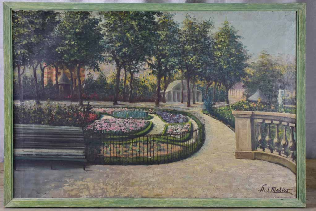 "Early 20th Century French painting of a park 30¾"" x 21¼"""