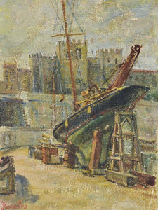"Late 19th century French oil on canvas - boat in a port 13"" x 18"""