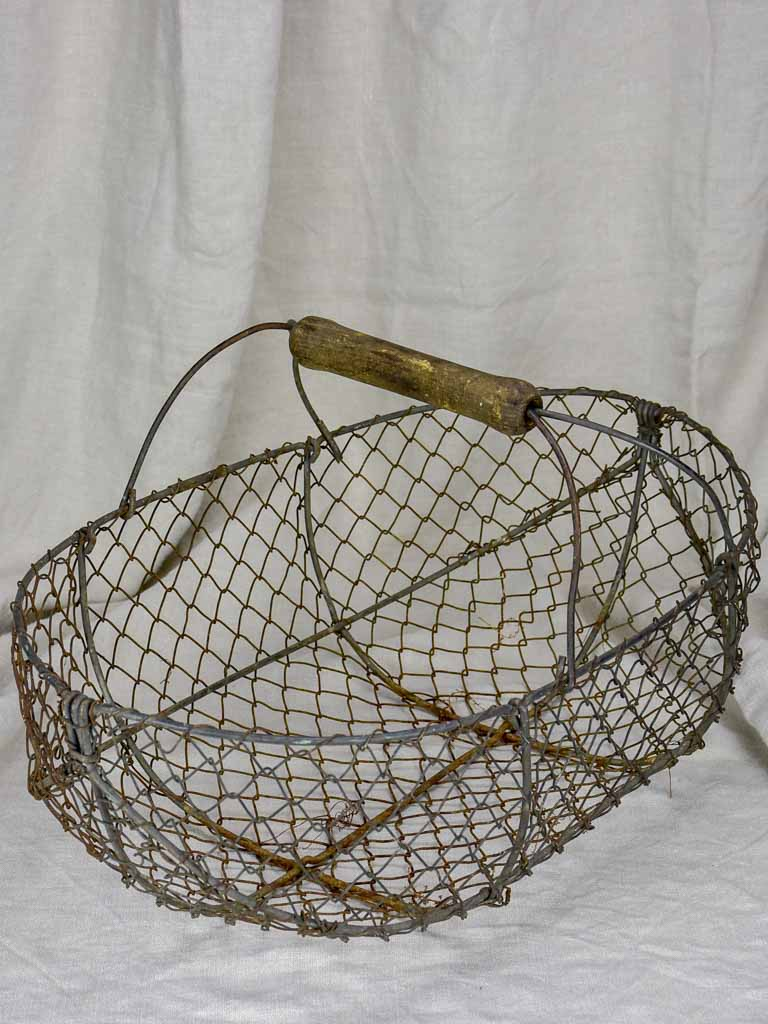 Large antique French harvest basket - wire with wooden handle