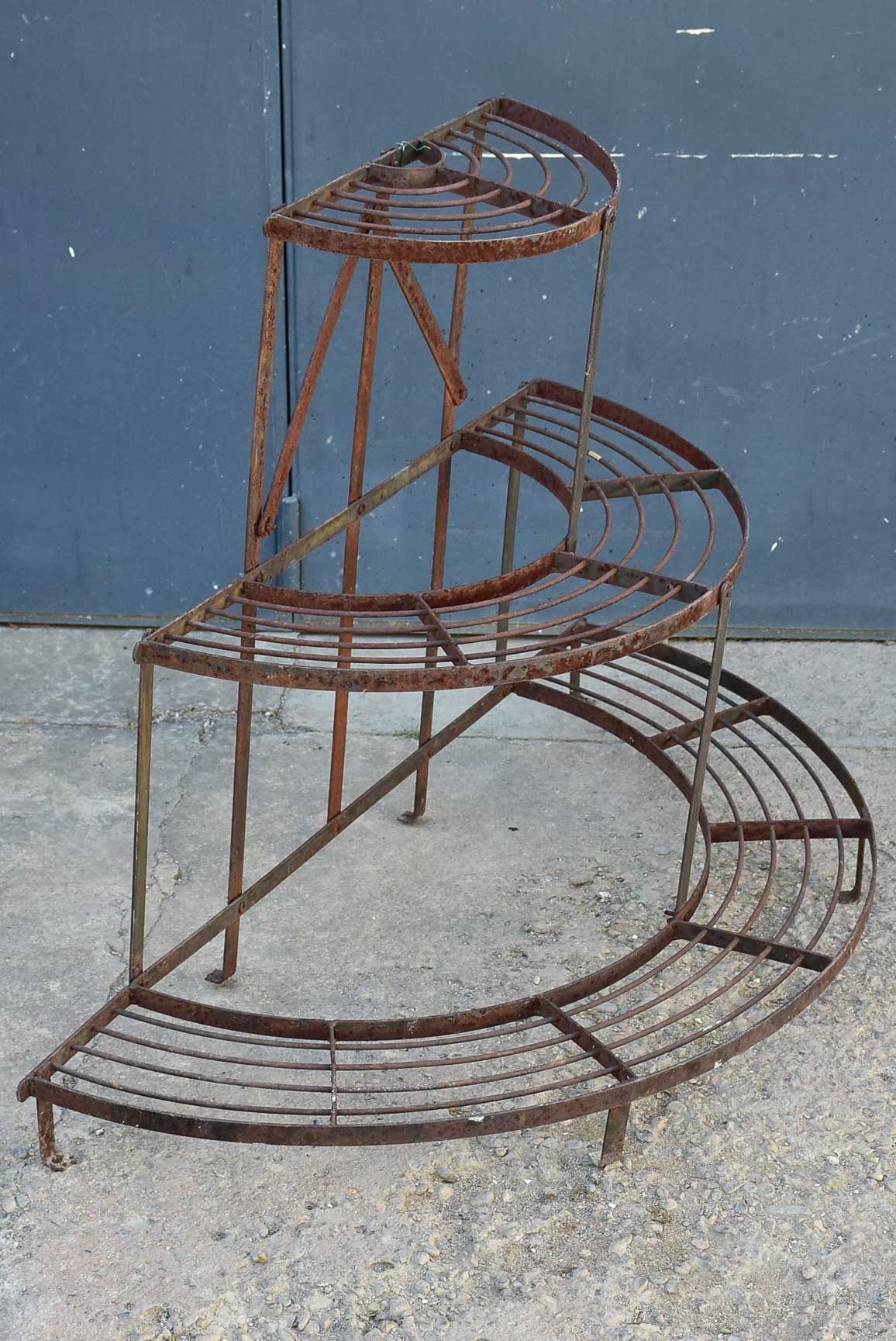 Mid century French plant stand - three tier semi-circle