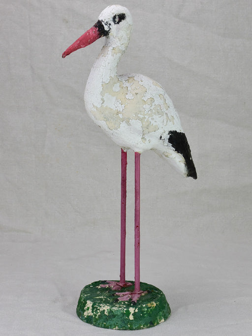 Vintage French garden sculpture of a stalk bird 20½""