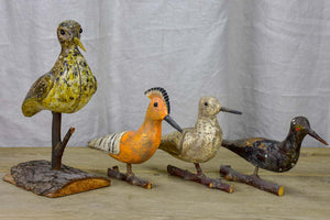 Collection of four antique carved wooden birds - late 19th / early 20th Century