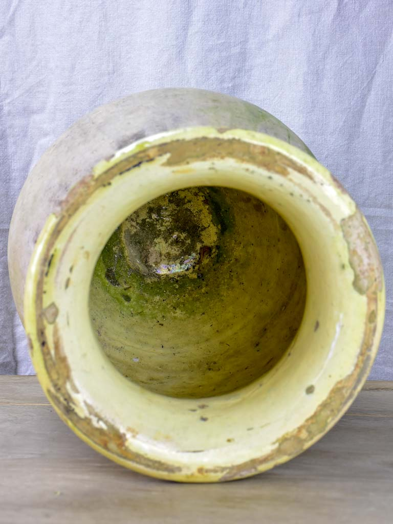 Small 19th Century French Biot jar with yellow glaze 19¾""