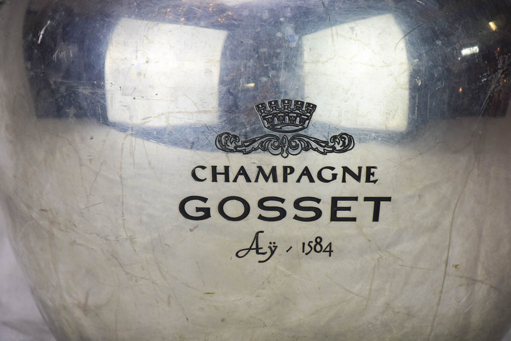 Exceptional antique French Champagne Gosset Champagne ice bucket 9½""