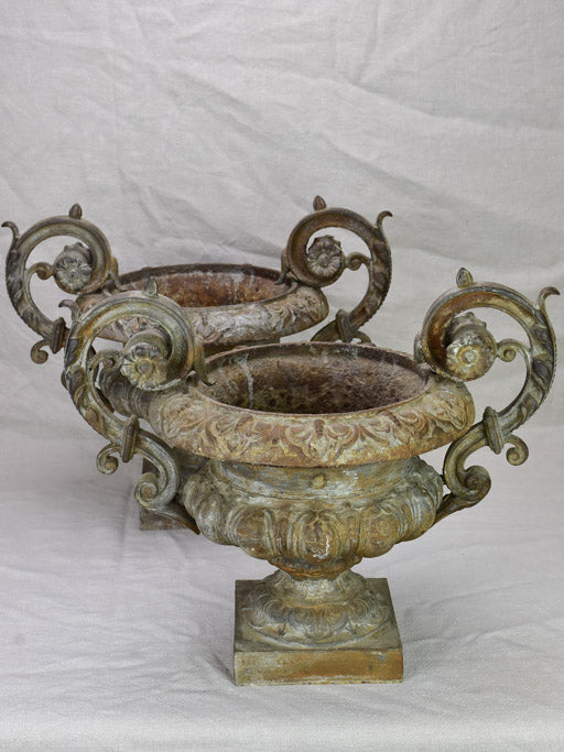 Pair of late 19th Century French Medici urns with loop handles 14½""