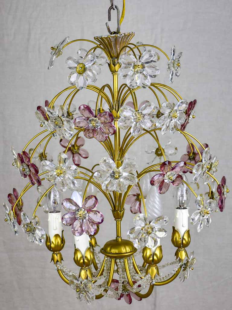 "1960's /70's Maison Bagues style daisy chandelier - 18"" high"