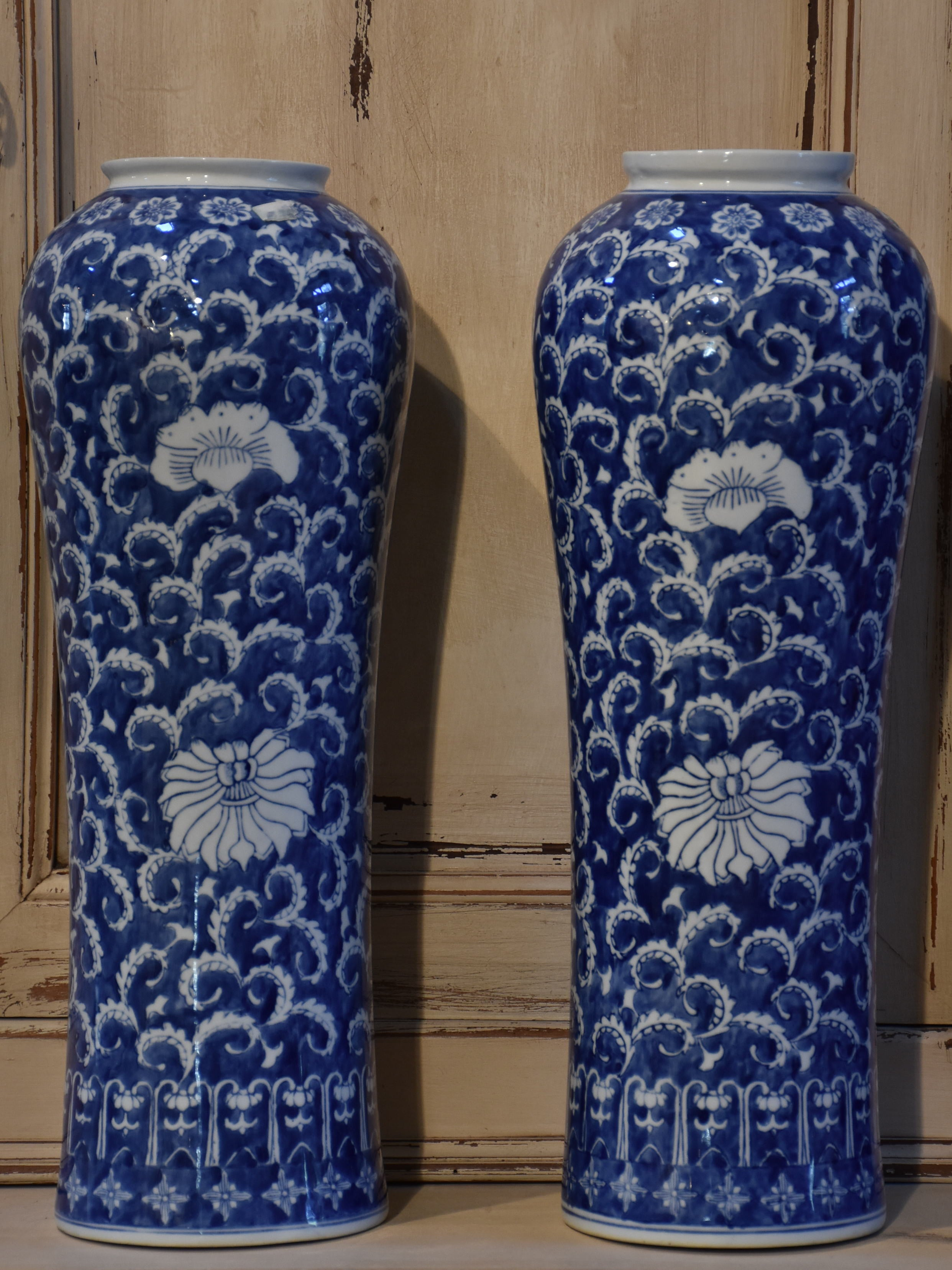 Pair of tall blue and white Chinese vases