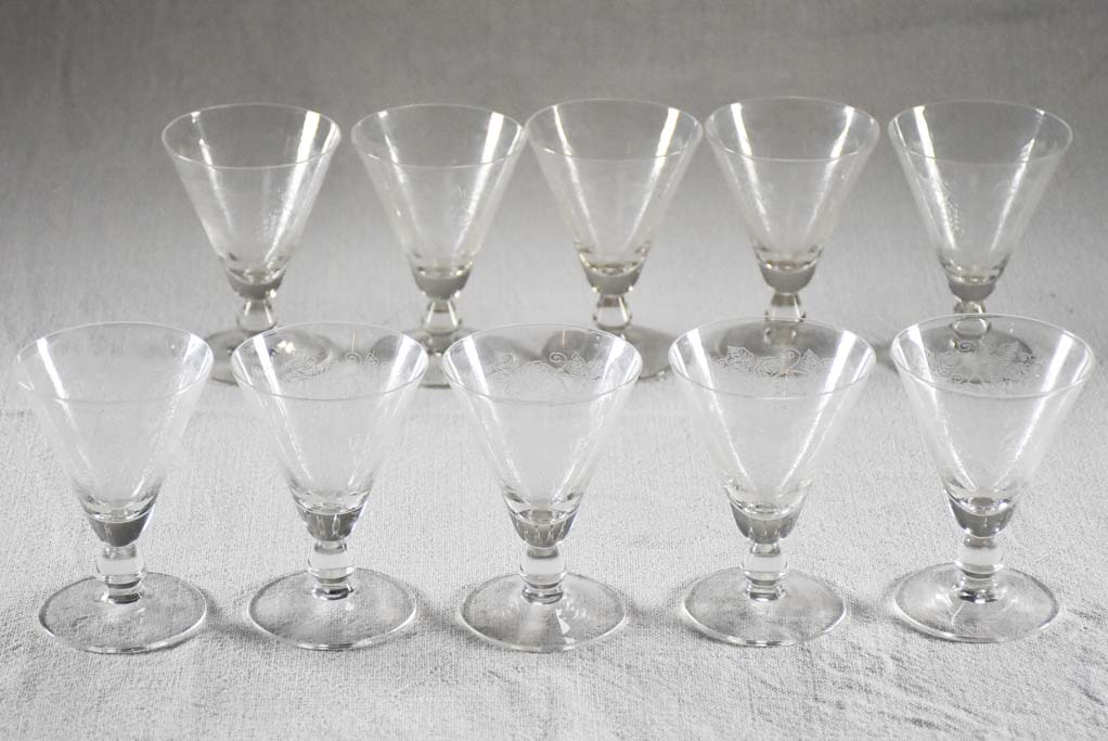 Ten engraved antique French aperitif glasses