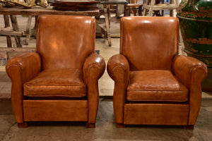 Pair of vintage leather club chairs