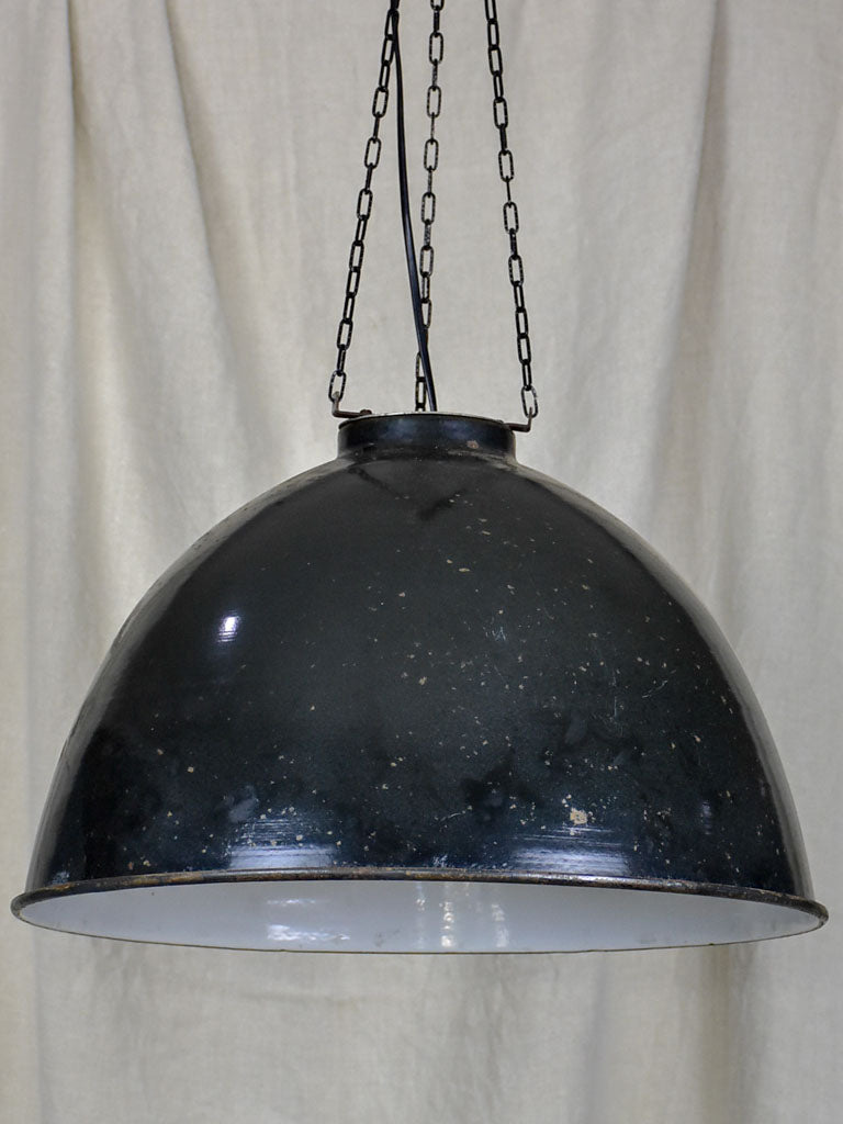 Pair of mid-century industrial suspension lights - enamel