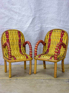 Pair of miniature rattan armchairs