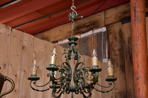 Antique French chandelier with green patina