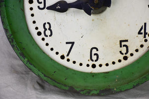 Large antique French industrial clock - green zinc 24½""