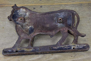 Antique French cast iron bull from a butcher's block