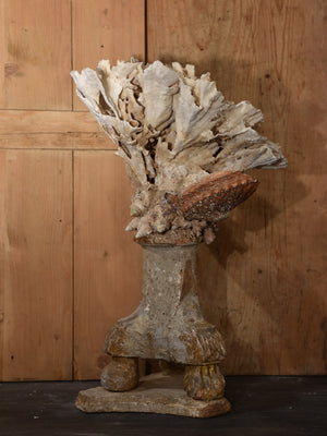 Mounted Coral and abalone shell specimens on antique base