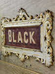 "19th Century French horse name plate from stables 'Black' 15"" x 9"""