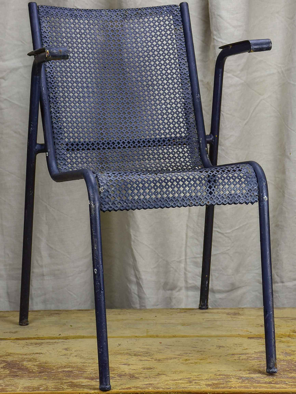 Set of ten mid-century black garden chairs from a French hotel