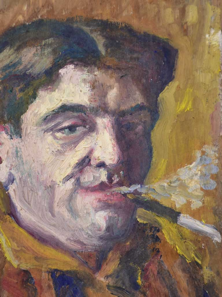 "Small French painting 1930's of a man smoking a cigarette 7"" x 11"""