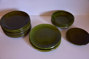 34 piece vintage French dinner service with green glaze
