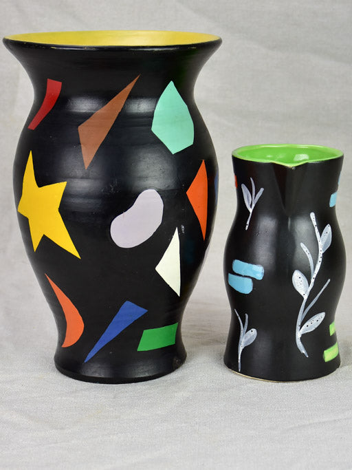 Vintage pitcher and vase painted black with bright colored shapes 11¾""