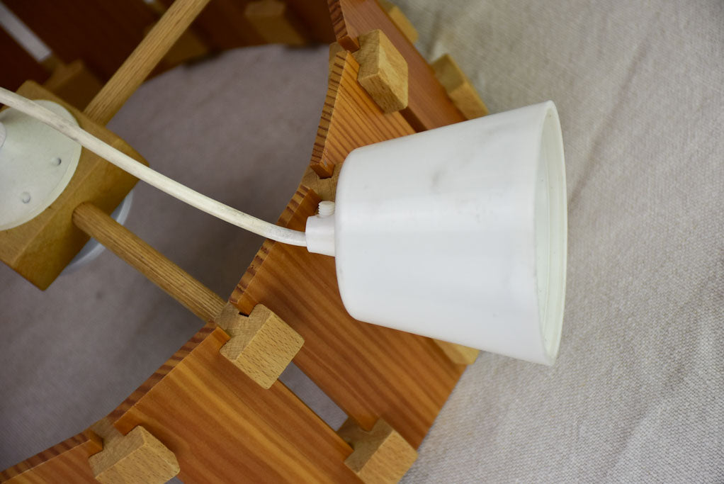 "Vintage French ceiling light with slatted two-tone timber 12½"" x  5"""