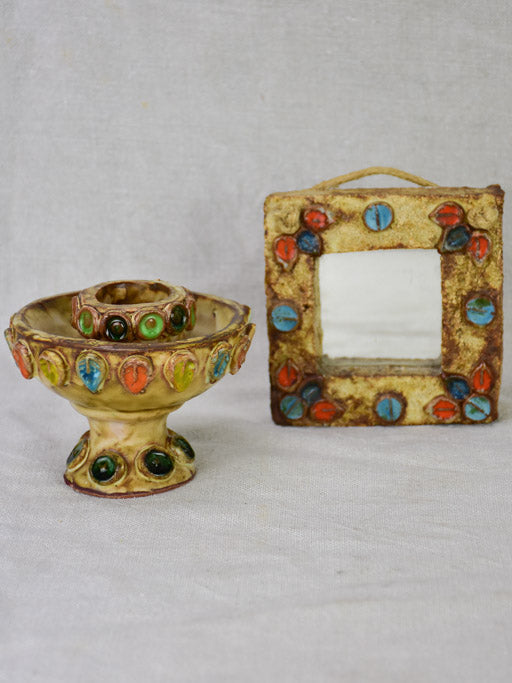 Vintage sandstone miniature mirror and egg cup with colorful petal motifs
