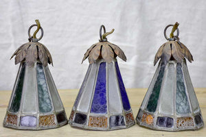 Three small antique lead light suspension lights - Tiffany style 6¼""