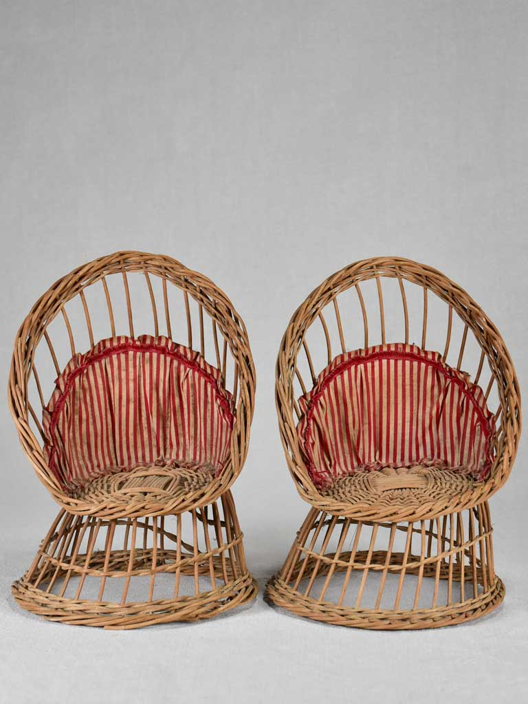 Two miniature early-twentieth century wicker armchairs 9¾""