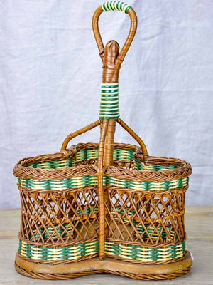 Mid century French wicker bottle carrier - three bottles