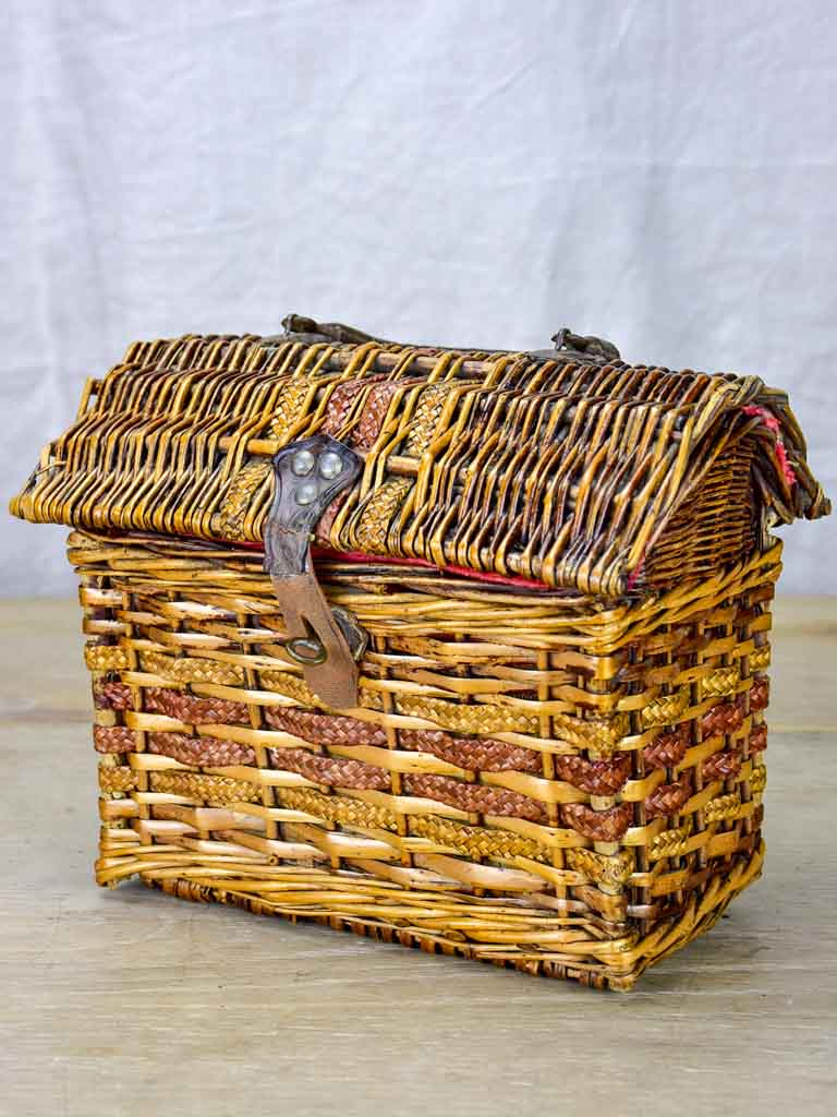 Small antique French children's school lunch basket