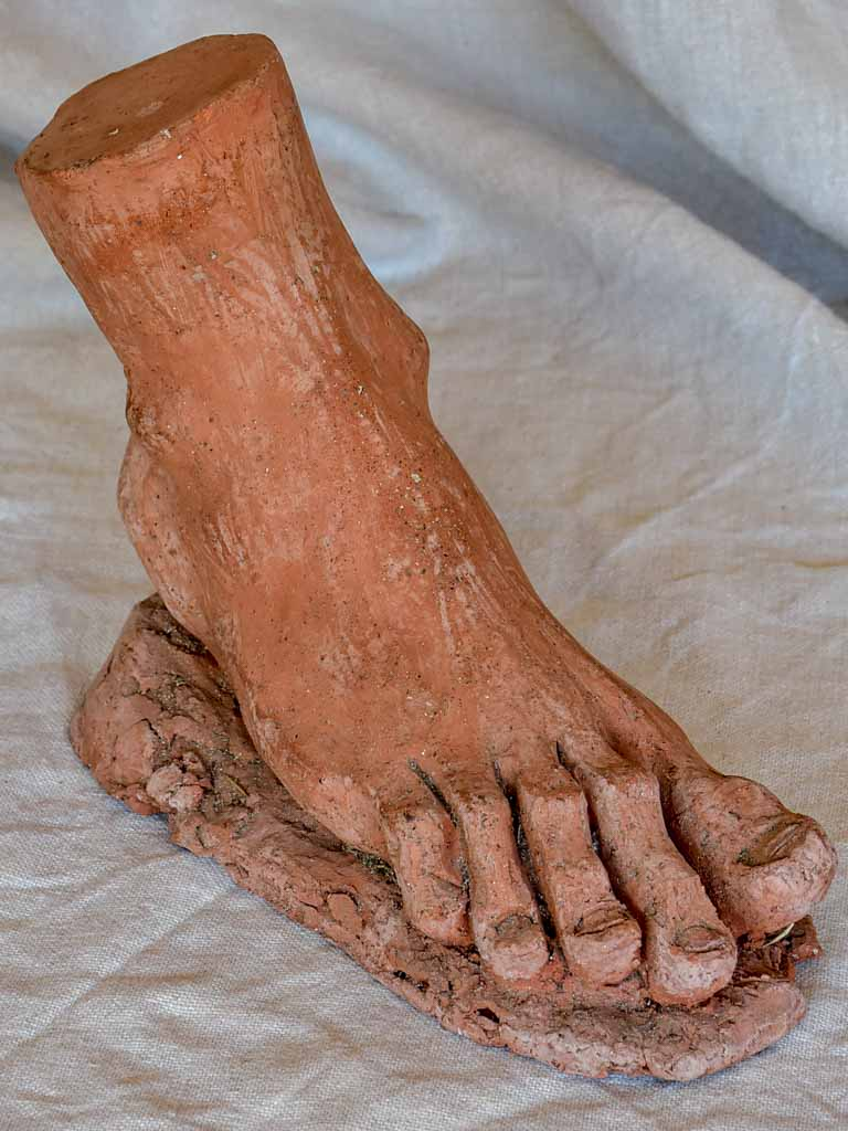 Antique French terracotta sculpture of a foot