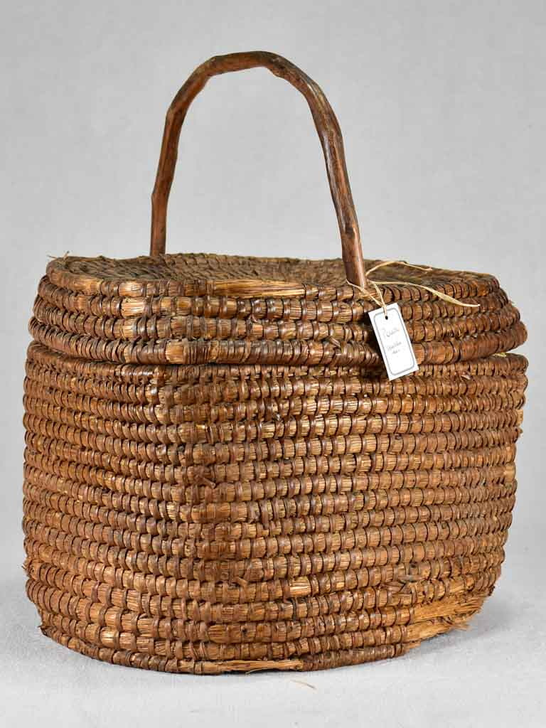Antique French woven basket 13½""