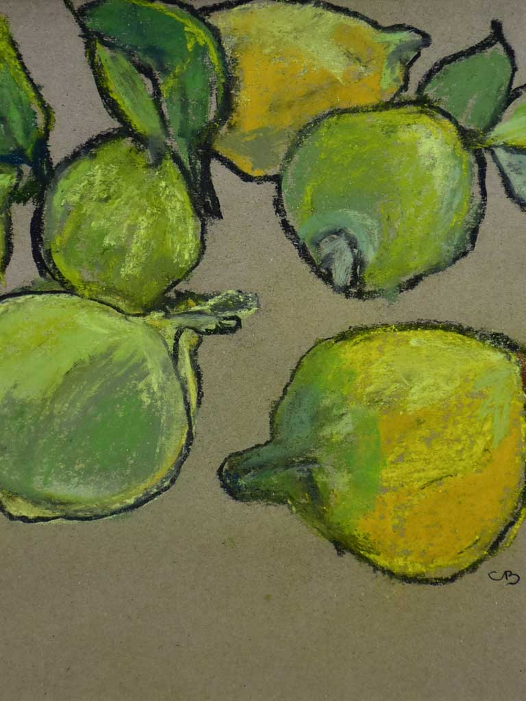 "SOLD - MA Citrons' Still life pastel on craft paper. Six lemons - Caroline Beauzon 15¼"" x 11¾"""
