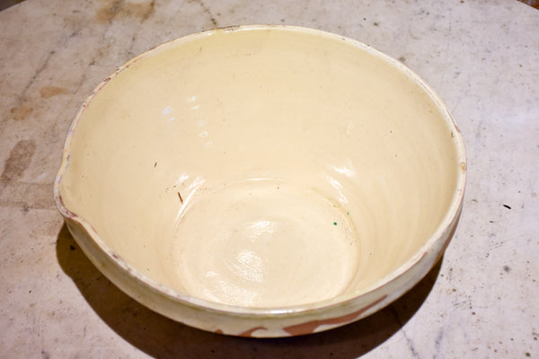 Antique French preserving bowl with cream glaze