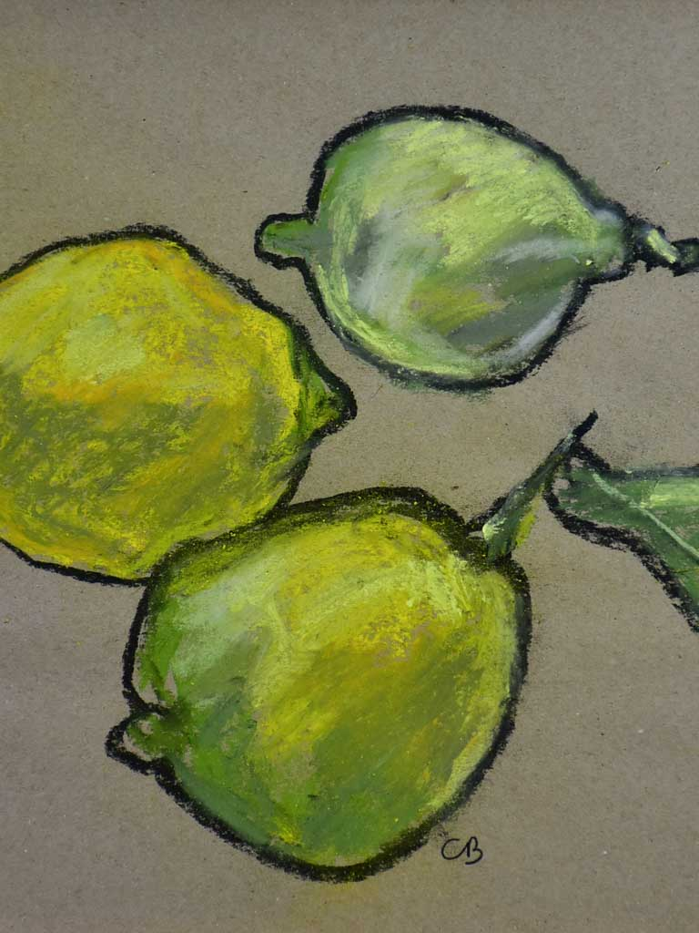"'Citrons' Still life pastel on craft paper. Three lemons - Caroline Beauzon 15¼"" x 11¾"""