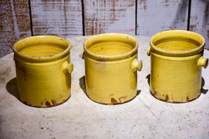 Set of three yellow glazed French pots