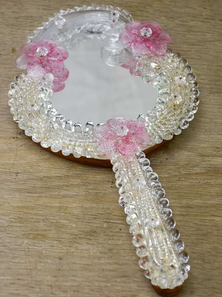 Vintage Venetian style hand mirror with pink flowers
