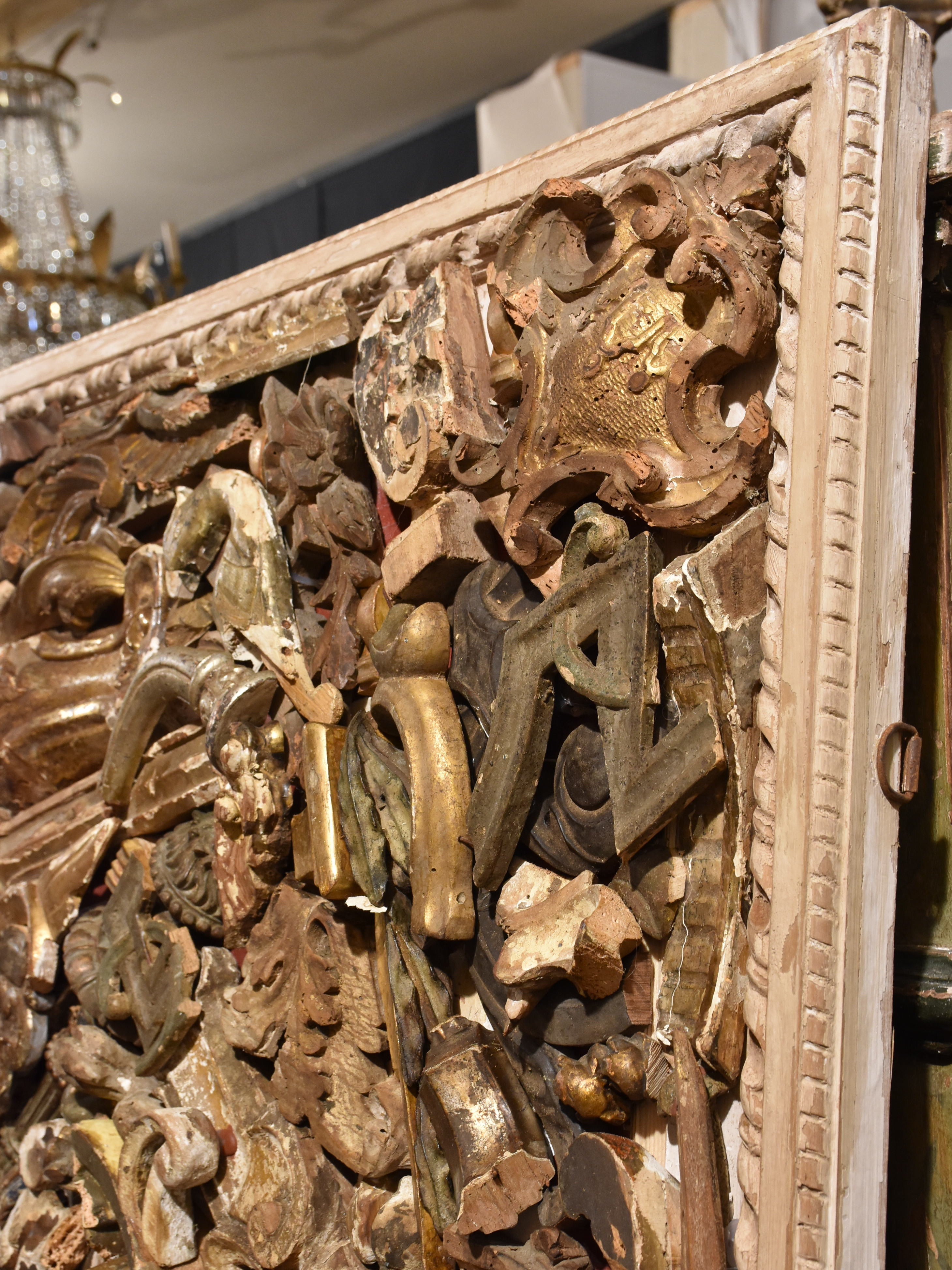 Framed salvaged carved and gilded antique pieces 1 of 2