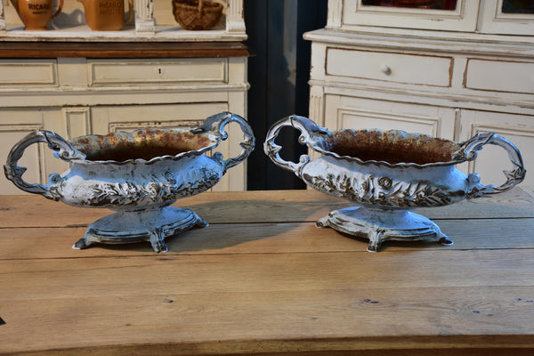 Pair of antique French cast iron garden planters