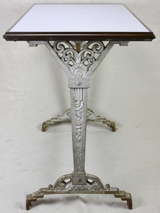 Art Deco rectangular bistro table with opaline glass top