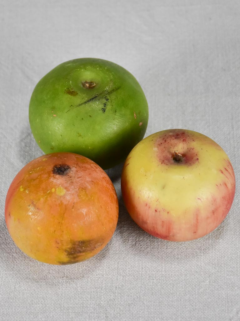 Collection of three vintage marble fruits