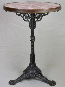 Pretty red marble and cast iron bistro table from the early 20th century
