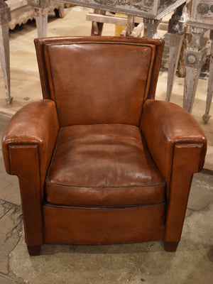 Pair of square 1930's style French leather club chairs