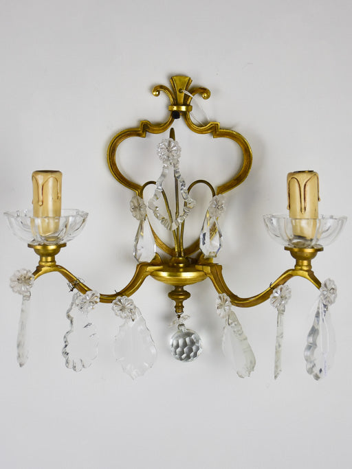 Pair of vintage wall sconces with two lights and crystal pendants 11""