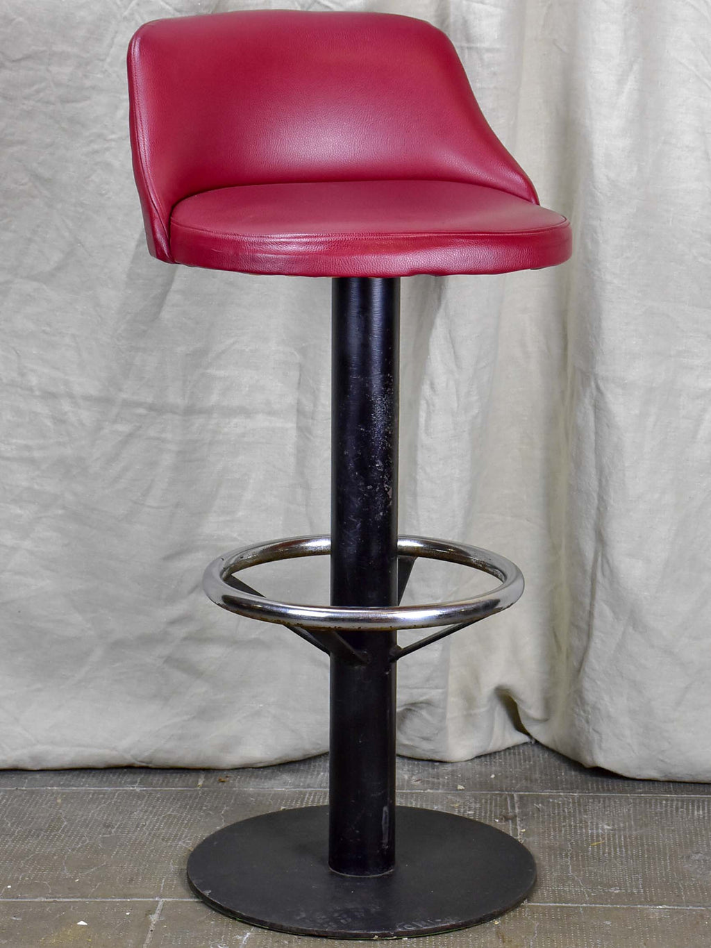 1960's French bar stools - red faux leather